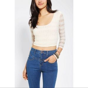 UO White Pins & Needles Bodycon Cropped Top